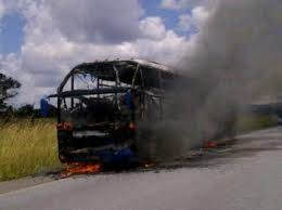 Zambia: Passenger Bus catches fire, all passengers safe