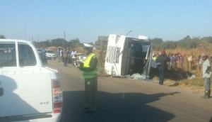 Picture taken from a car by a motorists at the accident scene