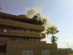 A hostel at UNZA in flames.  Picture from the Zambia Reports Website