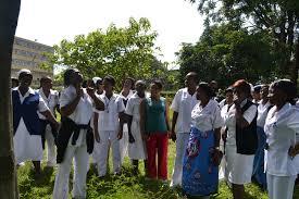 Protesting nurses at the University Teaching Hospital in Lusaka