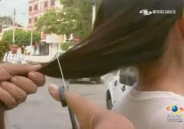 Thieves with scissors stealing women's hair in Venezuela