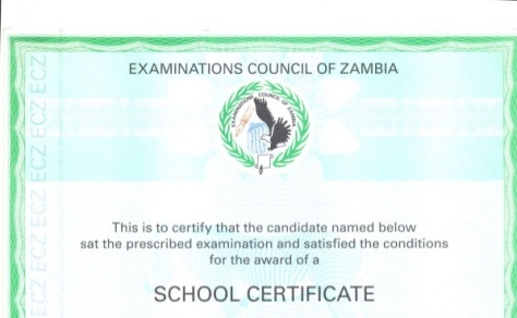 Copy of a Grade 12 Certificate